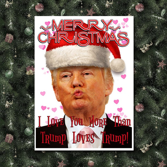 donald trump funny christmas card trump christmas card etsy. Black Bedroom Furniture Sets. Home Design Ideas