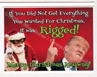 Donald Trump, Funny Christmas Card, Funny Holiday Card, Boyfriend, Girlfriend, For Him, For Her, Rigged, Best Friend, Funny Greeting Card
