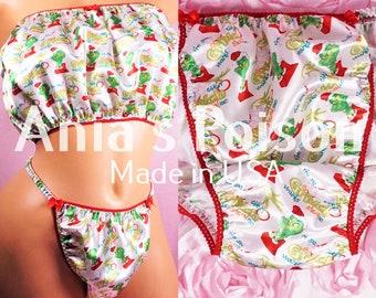 Sissy String Bikini Panties Christmas SANTA GNOMES wetlook MENS Satin Shiny
