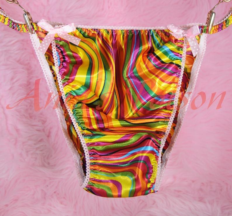 2X Sissy Satin Panties for Men VALENTINES RED WHITE Shiny Sting Bikini S