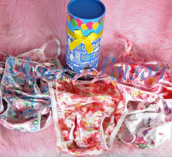 Sissy Panties Happy Birthday Satin String Bikini Boxed