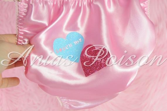 Satin String bikini custom Conversation Hearts Sissy Ladies Valentines Panties