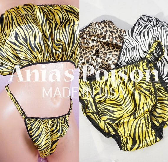 Details about  /Sissy Satin String Bikini Panties micro PONIES MENS Silky Shiny Undies PRINTS!