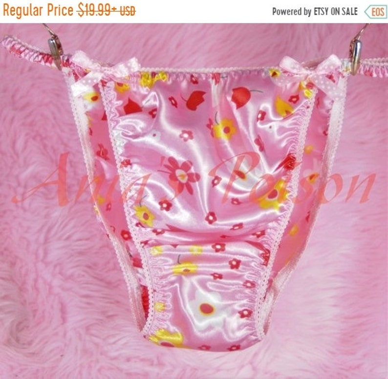 Panties Mens Sissy String Bikini Panties Floral Soft Satin Scrunch Butt Underwear S Xl