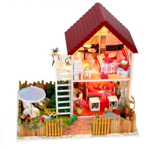 diy miniatur garten haus villa spieluhr miniatur handwerk kit etsy. Black Bedroom Furniture Sets. Home Design Ideas