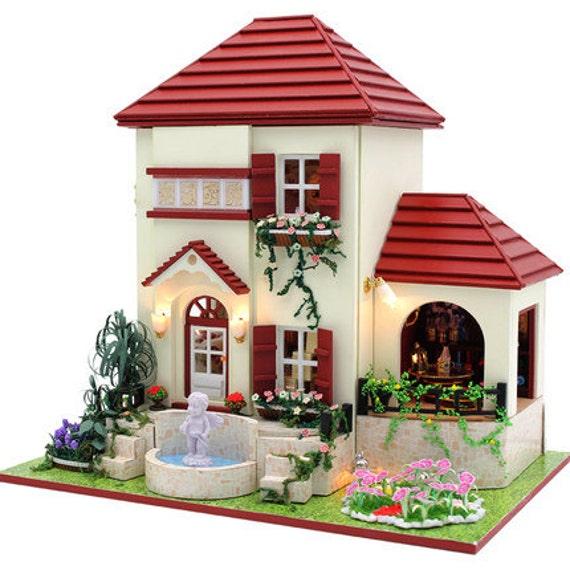 Red Brick Villa Miniature Kit Handmade cottage dollhouse  8bd7e4f6e2