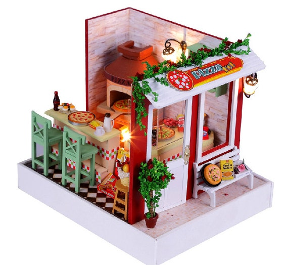 Diy Dollhouse Pizza Shop Miniature Kit Handcraft Kit Birthday Etsy