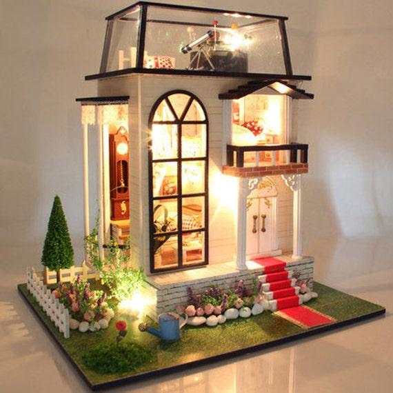 Diy Glass Villa Miniature Kit Handmade Dollhouse Handcraft Kit Etsy