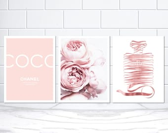 set of 3 coco chanel noir bottle blush pink peonies and chanel etsy