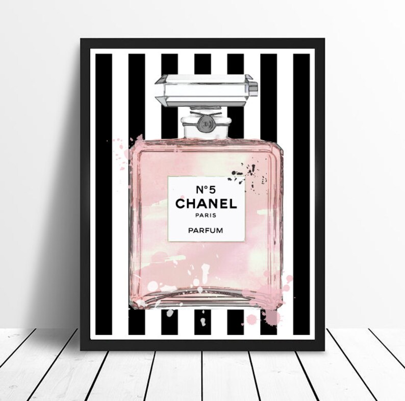 b5dac307c81 Chanel No 5 No5 No.5 Pink Perfume Bottle with Stripes and