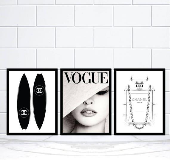 Set Aus 3 Coco Chanel Surfbrett Vogue Hut Abdeckung Und Chanel Etsy