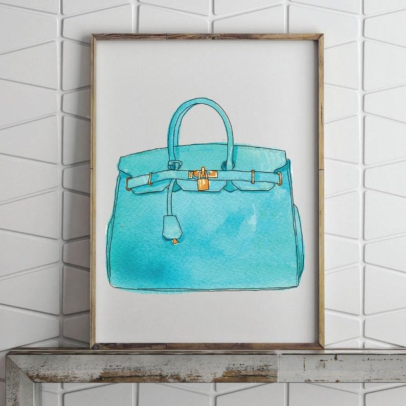 7e58391e30e Hermes Birkin handtas aquarel illustratie ingelijste afdrukken | Etsy