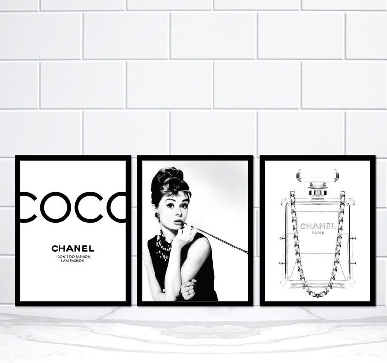 Set di 3 Coco Chanel Audrey Hepburn Chanel profumo bottiglia  35f80b44d26c