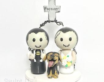 Zombie Peg Doll Kokeshi Cake Topper, Custom Wedding Character Cake Topper