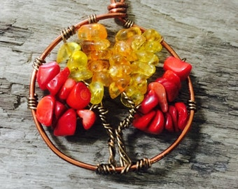 Citrine, Coral, and Tourmaline Tree of Life on Copper Wire