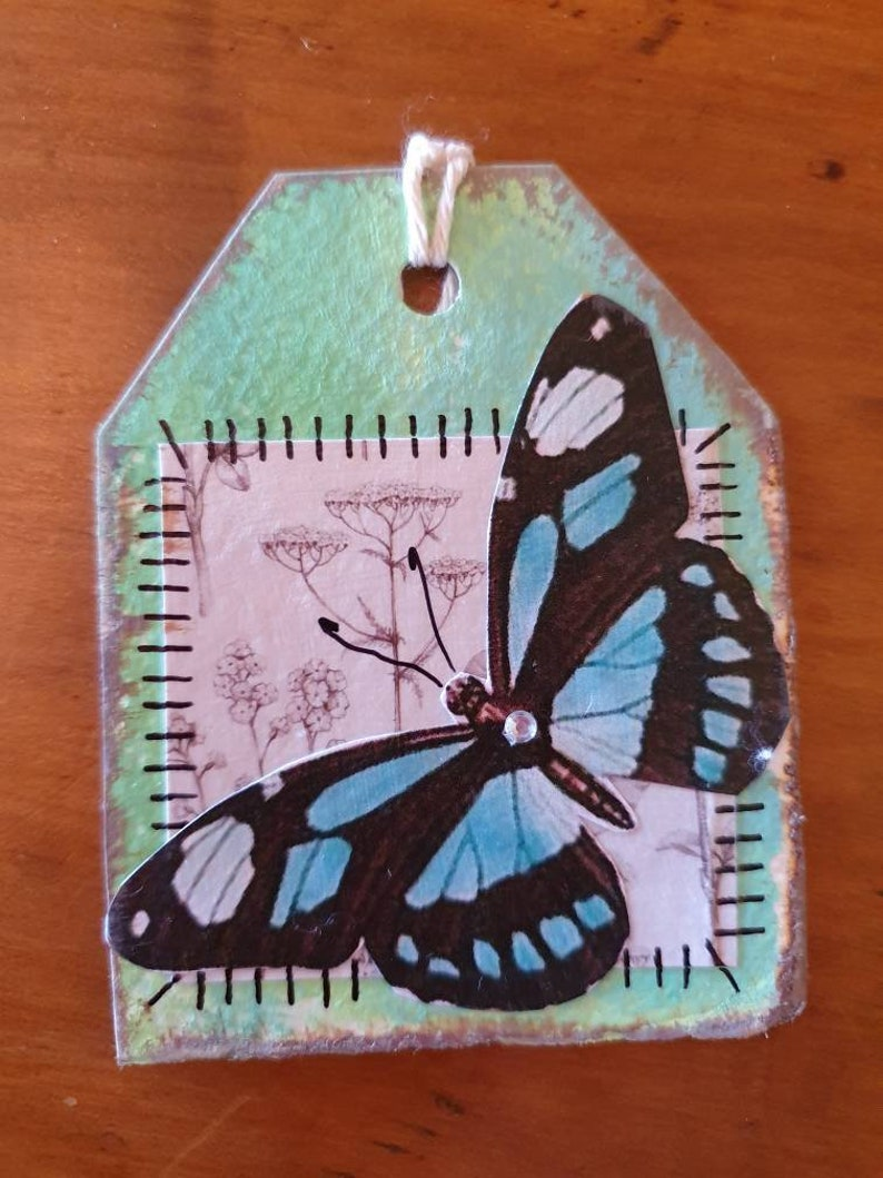 Original Whimsy Junk Journal Tags Botanical Art Tags Gift Pretty Tags Rustic Tags Handmade Gift Tags Butterfly Whimsical