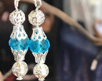 Blue Crystal Glass Bead Dangle Silver Plated Earrings