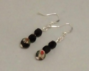 Black Drop Earrings, Black Dangle Earrings, Silver Plated Earrings, Crystal Earrings,
