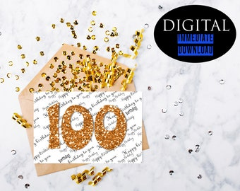 100th Birthday Card,Instant Download,Printable Card,100 Birthday,PDF Birthday Card,Greeting Card,Best Friend Card,Happy Birthday