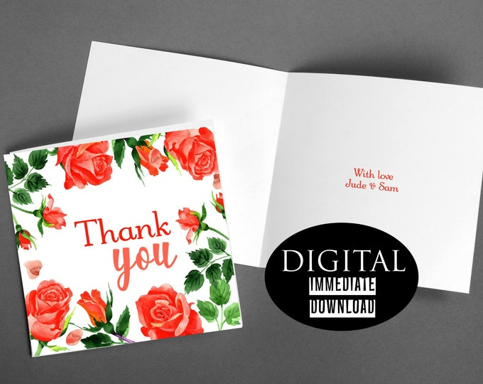 Featured listing image: Floral Thank You, Thank You Card,Printable Card,Instant Download, Roses Card,PDF Thanks Card,Greeting Card,Digital Download, Digital Thanks