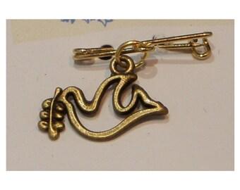 Tiny Dove Charm on Tiny Brass Handmade Pin