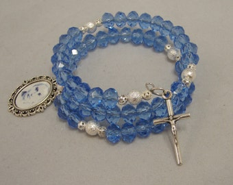 Rosary Wrist Wrap Bracelet, Ice Blue Crystal Glass Beads, Catholic Jewellery, Saint Bernadette