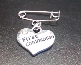 First Communion Charm on Tiny Silver Handmade Pin
