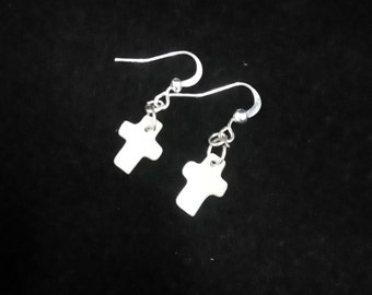 Cross Earrings, Earrings with Cross, Mother of Pearl Cross, Silver Plated Earrings, First Communion Gift, Cross Jewellery