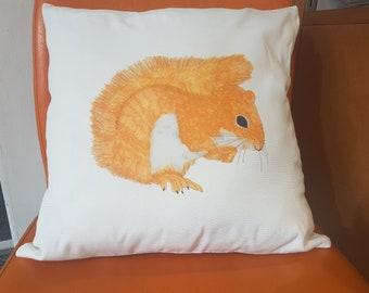 Hand Drawn Squirrel Cushion Cover, Hand Drawn Wildlife Cushion, Red Squirrel, Linen Cushion