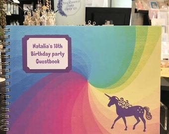 Personalised Unicorn Guest Book, Unicorn Photo Album, Personalised Rainbow Photo Album, Unicorn Memory Book, Unicorn Scrapbook Album