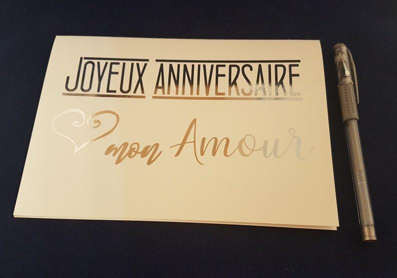 Carte Danniversaire Joyeux Anniversaire Mon Amour Carte Feuille De Métal