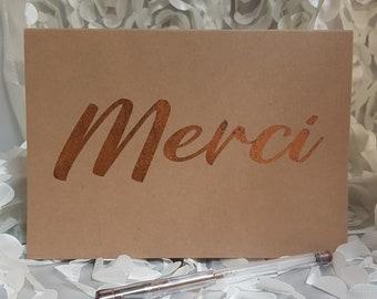 Carte de Remerciement , Merci Carte, Carte feuille de métal, Merci Card, Thank You Card,