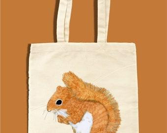 Squirrel Tote Bag, Hand Drawn Wildlife Tote, Reusable Tote Bag, Eco Tote Bag, Personalisation Possible