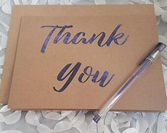 Thank You Card, Foiled Thank You Card, Kraft Card,