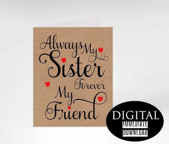 Sister Birthday CardPrintable CardInstant Download