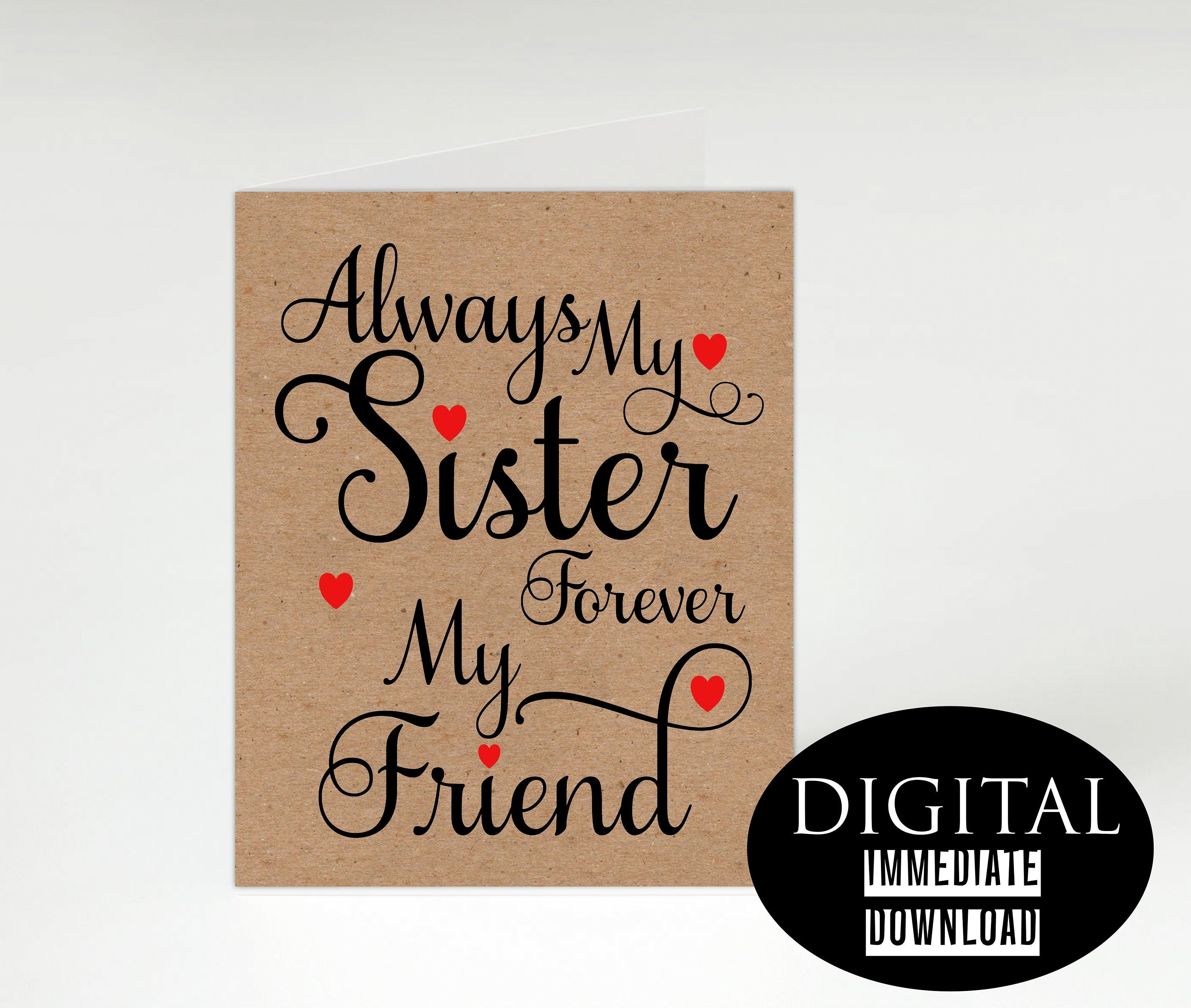 Sister Birthday CardPrintable CardInstant Download CardPDF CardGreeting CardHappy