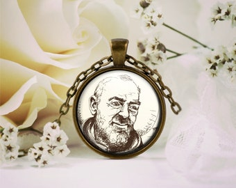 Saint Padre Pio Pendant, Padre Pio Jewelry, Christian Necklace, Catholic Necklace, Brass Necklace, Copper Necklace, Silver Plated Necklace,