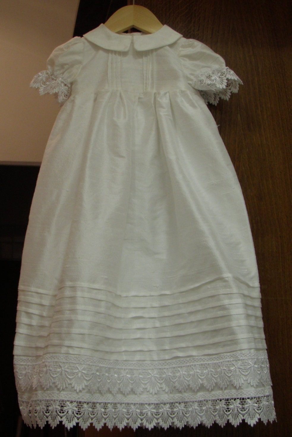 Heirloom Pure Silk Christening Gown Antique Lace Baptism Gown