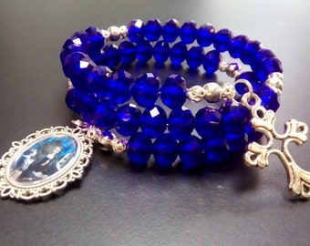 Rosary Wrist Wrap Bracelet, Royal Blue Crystal Glass Beads, Catholic Jewellery, Saint Angela