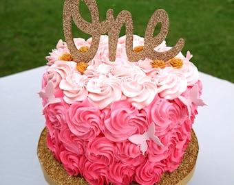 Glitter One Cake Topper - Gold Glitter Cake Topper - Keepsake Cake Topper - Smash Cake Topper