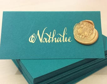 x25 Wedding Place Cards/Name Tags in the Colour of Your Choice - Handwritten Calligraphy Optional