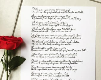 Pretty Handwritten Calligraphy - letter or poem - girlfriend, boyfriend, husband, wife, daughter, son, mother, paper anniversary