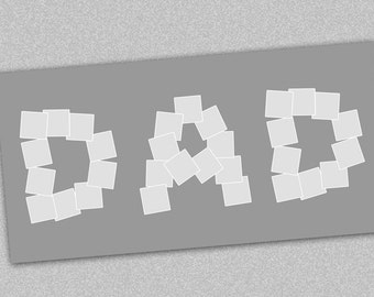 """DAD Photo Collage Template, Photo Storyboard, Instagram Collage, 20x10"""", Photographer Resources - Instant Download"""