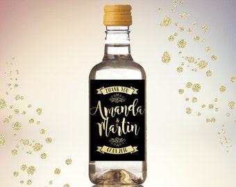 Party Favor Mini Wine Bottle Labels, Customized - Gold & Black Retro Style Mini Wine Labels - Wedding, Engagement - DIY Print, Printable PDF