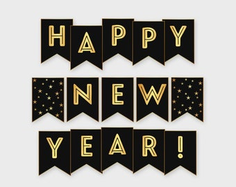 new year banner happy new year gold black new year party holiday decoration printable digital file diy print instant download