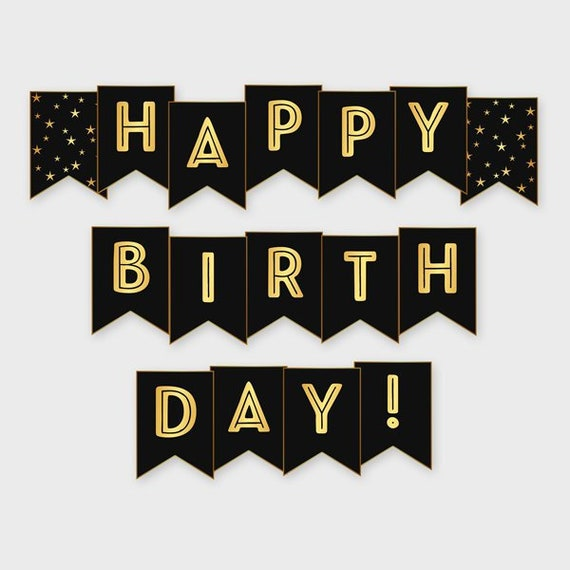 Black & Gold Printable Happy Birthday Banner Birthday