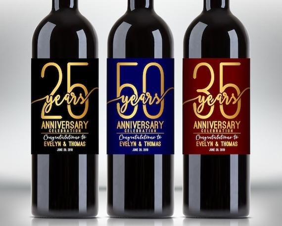 Etichette Di Bottiglia Di Vino Celebrazione Anniversario Etsy