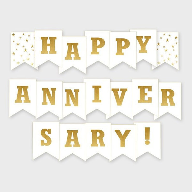 picture about Happy Anniversary Banner Free Printable titled Printable Joyful Anniversary Banner - Gold Banner - Anniversary Get together Decoration - Electronic History, Do it yourself Print - Prompt Down load - #GDS