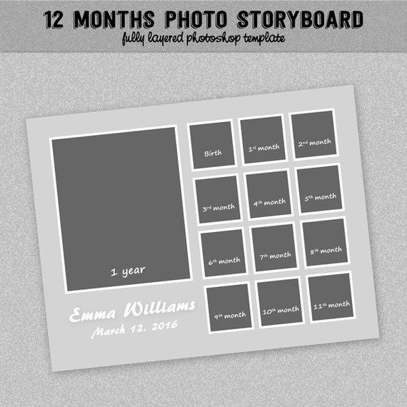 12 Months Timeline Photoboard Template - Baby First Year - Instant ...