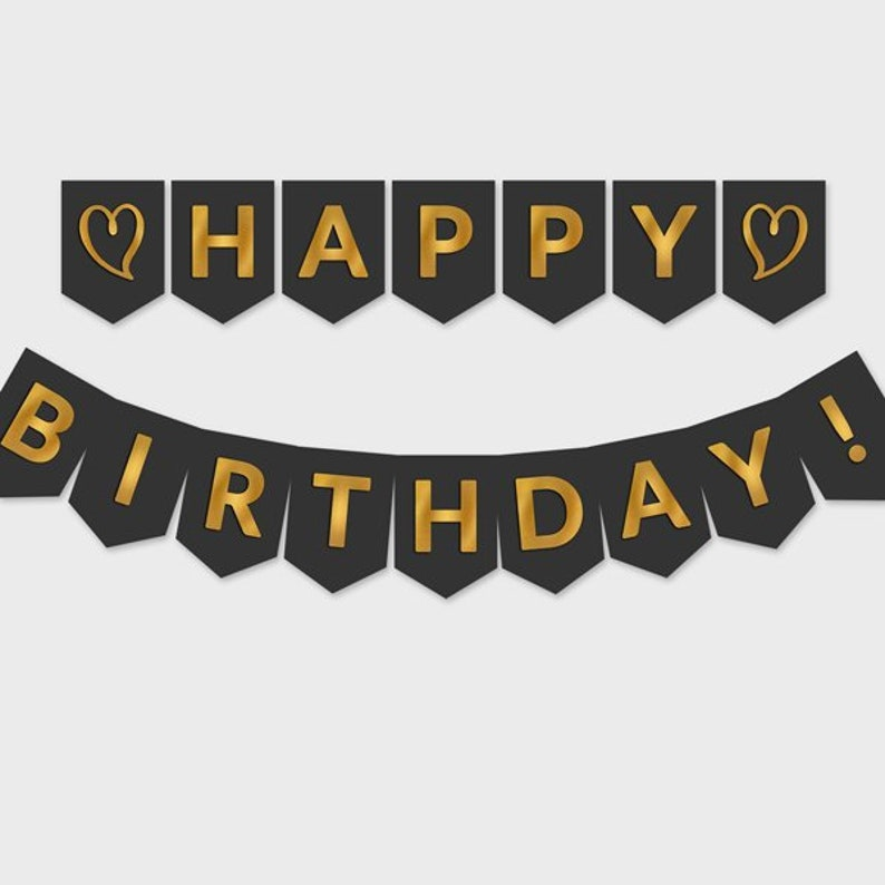 photograph regarding Printable Happy Birthday Banner called Printable Satisfied Birthday Banner / Black Gold Foil Flags / Birthday Occasion Decoration - Electronic Report, Do-it-yourself Print, Quick Obtain - #GFC